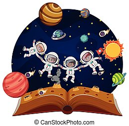 Children astronauts in space pop up book illustration