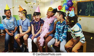 Children at a party - Digital composite of diverse children ...