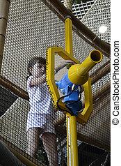 Children at amusement park
