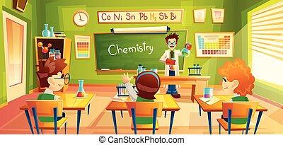 Children at chemistry lesson, vector illustration