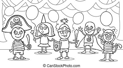 children at fancy ball coloring page - Black and White...
