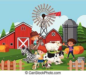 Children at farmland with animals