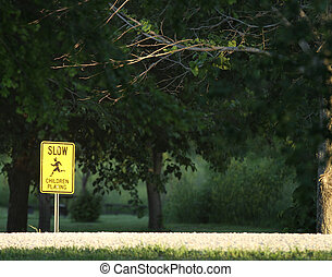 Children at play - slow - signage