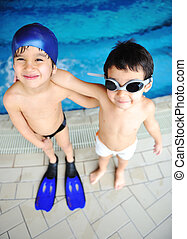 Children at pool, happiness and joy
