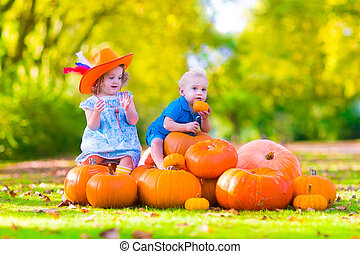 Children at pumpkin patch