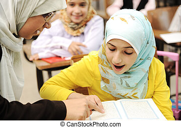 Children at school classroom
