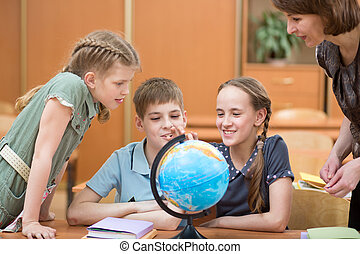 children at school in lessons