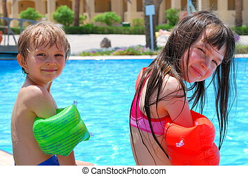 Children at swimming pool