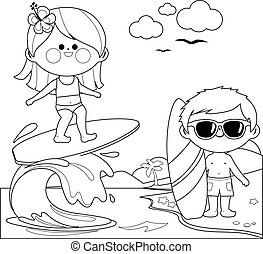 Children at the beach surfing on a wave in the sea. Vector black and white coloring page