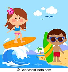 Children at the beach surfing on a wave in the sea. Vector illustration