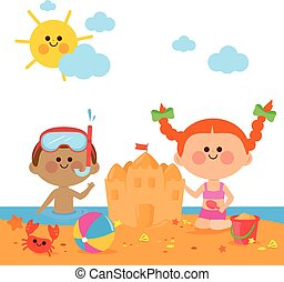 Children at the beach swimming and building a sandcastle. Vector illustration