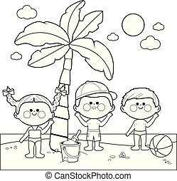 Children at the beach under a palm tree. Black and white coloring book page