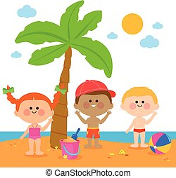 Children at the beach under a palm tree