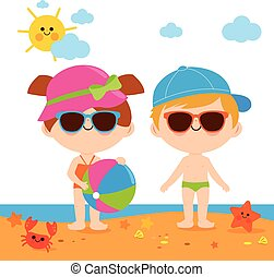 Children at the beach with hats and sunglasses