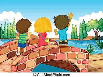Children at the bridge