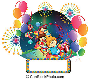 Illustration of the children at the carnival with an empty space for advert on a white background