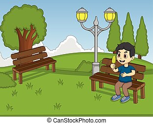Children at the park cartoon