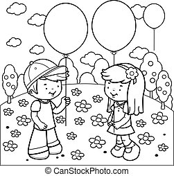 Children at the park playing with balloons. Vector coloring page