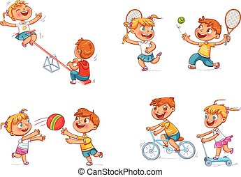 Children at the playground. Funny cartoon character