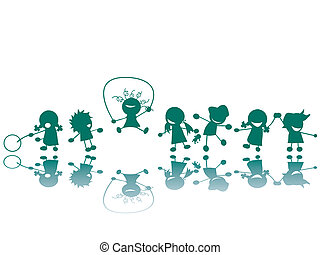 Children at the playground silhouettes, vector art