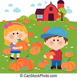Children at the pumpkin field and farmhouse. Vector Illustration