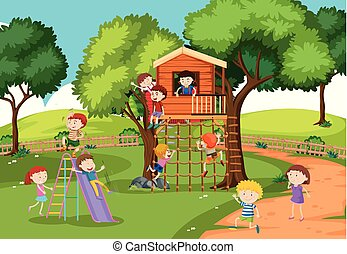Children at the treehouse illustration
