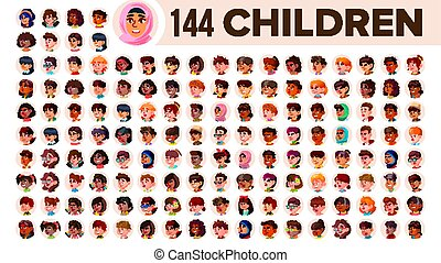 Children Avatar Set Vector. Child Girl, Guy. Multi Racial. Face Emotions. Multinational User People Portrait. Male, Female. Ethnic. Icon. Asian, African, European, Arab. Flat Illustration