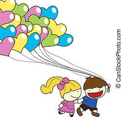 children balloons background