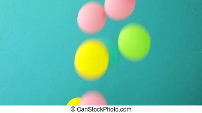 Children balls fall on a blue background