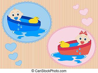 Children bathe in the bath with toy duck