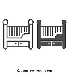 Children bed line and solid icon, Furniture concept, Baby crib sign on white background, Baby cradle icon in outline style for mobile concept and web design. Vector graphics