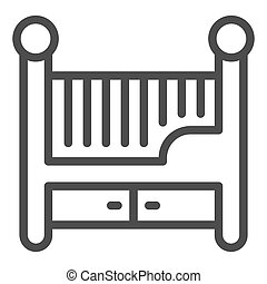 Children bed line icon, Furniture concept, Baby crib sign on white background, Baby cradle icon in outline style for mobile concept and web design. Vector graphics