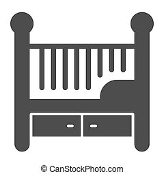 Children bed solid icon, Furniture concept, Baby crib sign on white background, Baby cradle icon in glyph style for mobile concept and web design. Vector graphics