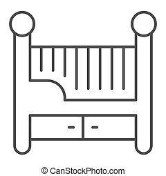 Children bed thin line icon, Furniture concept, Baby crib sign on white background, Baby cradle icon in outline style for mobile concept and web design. Vector graphics