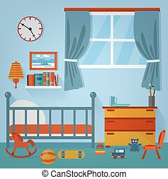 Children Bedroom Interior. Child Furniture and Toys. Vector illustration