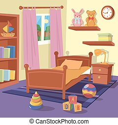 Children Bedroom Interior. Children Room. Vector illustration