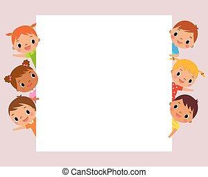 children behind blank sign