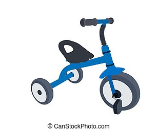Children Bicycle with Three Wheels. Isolated