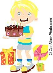 Children birthday. Boy with gift
