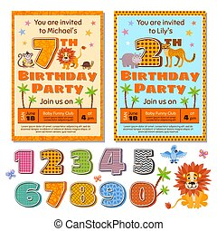 Children birthday party invitation card vector template with cute cartoon animals