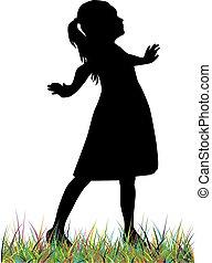 Children black silhouette.