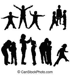 children black silhouette in various poses