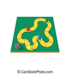 Children board game with chips cartoon icon