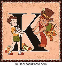 Children book cartoon fairytale alphabet. Letter K. Karlsson on the Roof by Astrid Lindgren