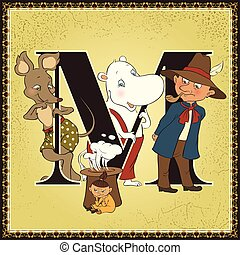 Children book cartoon fairytale alphabet. Letter M. Moomin...