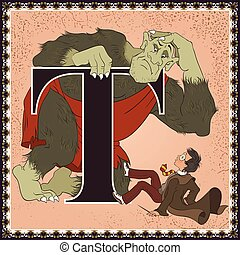 Children book cartoon fairytale alphabet. Letter T. Troll and wizard boy with a magic wand