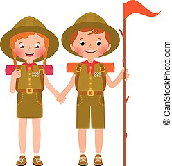 Children boy and girl scouts - Vector illustration of...