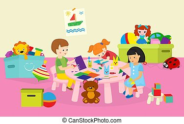 Children boy and girls crafting in kindergaten or art class vector illustration. Happy and creative kids crafting flags, decorations at table from color paper.