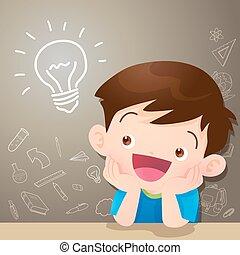 children boy thinking idea and chalkboard.