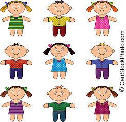 Children, boys and girls, set - Children, happy little boys...